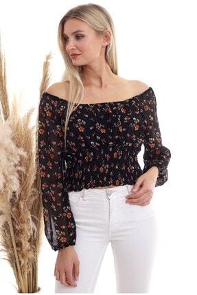 Cotton Mood 20333364 Şifon Desenli Beli Gipeli Yaka Lastikli Uz.kol Bluz Sıyah Kıremıt