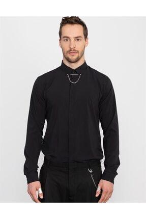 Tudors Slim Fit Düz Siyah Likralı Erkek Gömlek