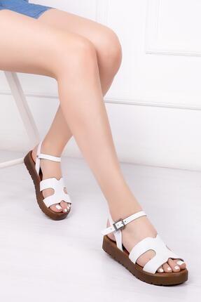 Deripabuc Hakiki Deri Beyaz Kadın Deri Sandalet Dp-1015
