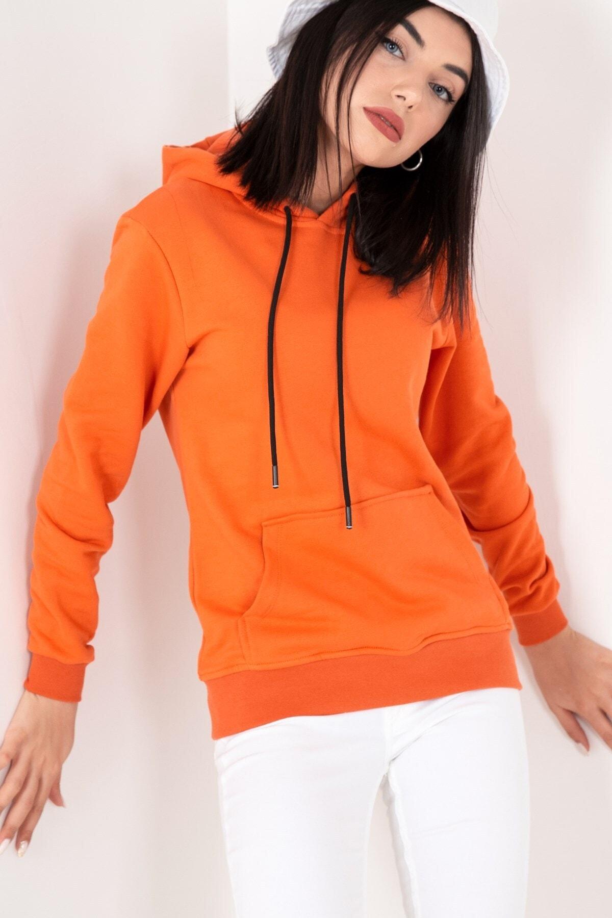 MY LIFE Mylife Kapüşonlu Kanguru Cep Kadın Sweatshirt Turuncu - Mlf2735 1