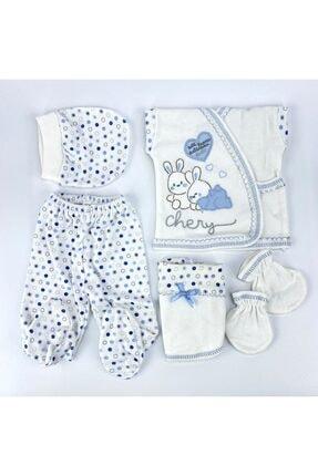 Bambino Yeni Doğan Bebek Mavi Tavşanlı 5'li Hastane Çıkışı Seti
