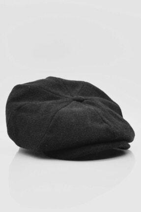 Külah Italyan Kasket Siyah Erkek Şapka Yün Yün Kep