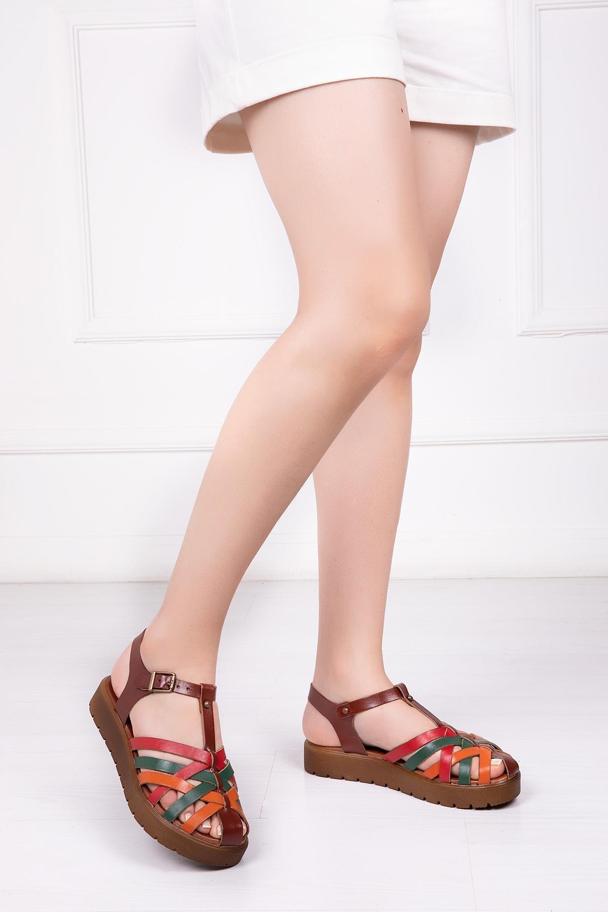 Deripabuc Hakiki Deri Kahve Multi Kadın Deri Sandalet Dp-0097 1