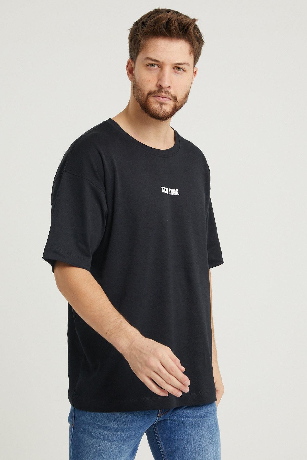 UNV COLLECTION New York Baskılı Erkek Oversizet-shirt 2
