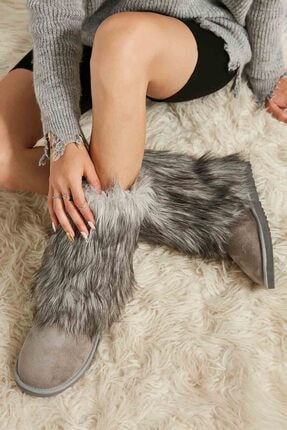 Bambi Gri Süet Kadın Bot & Bootie M0635152072