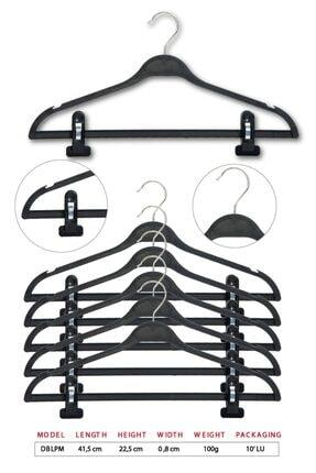 TENA MODA Unisex Siyah Dolgulu Mandallı Kıyafet Elbise Etek Pantolon Askısı 10 Adet