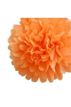 MascotShop Turuncu Ponpon Gramafon Çiçek Kağıt Doğum Günü Parti Süsü 1 Adet