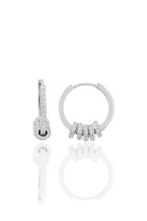 Söğütlü Silver Gümüş Zirkon Taşlı Rodyumlu Ring Küpe