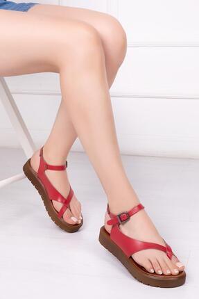 Deripabuc Hakiki Deri Kırmızı Kadın Deri Sandalet Dp-1081
