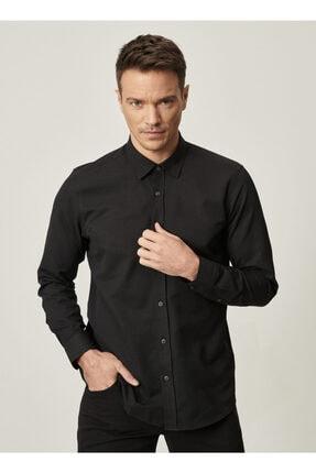 AC&Co / Altınyıldız Classics Erkek Siyah Tailored Slim Fit Dar Kesim Düğmeli Yaka Oxford Gömlek