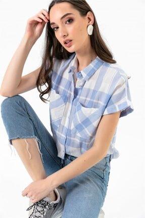 By Saygı Kareli Cepli Gömlek Mavi