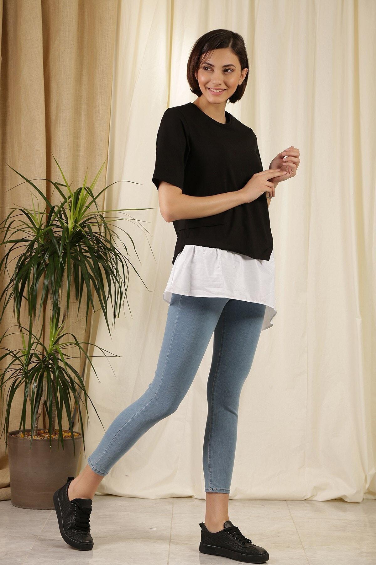 ZİNDİ Kadın Asimetrik T-shirt Siyah 1