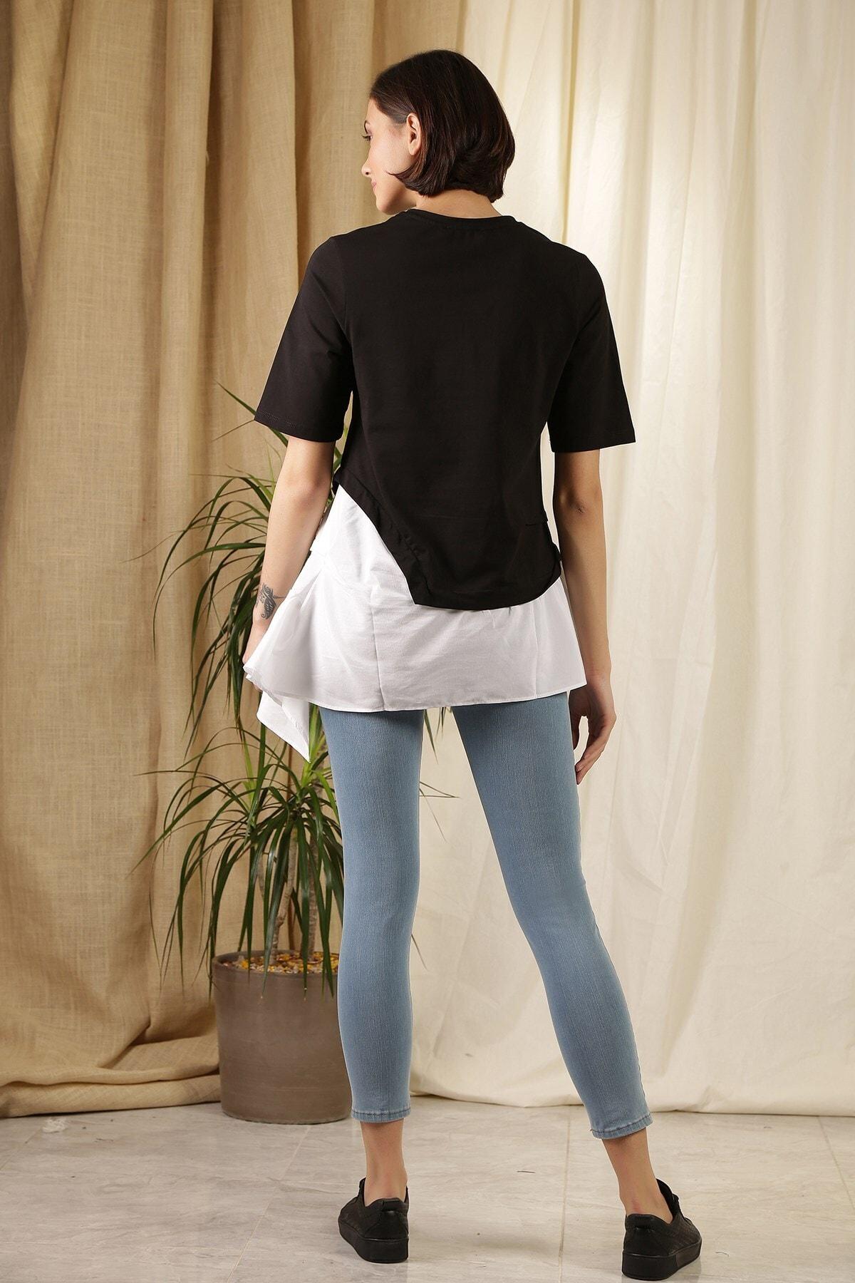 ZİNDİ Kadın Asimetrik T-shirt Siyah 2
