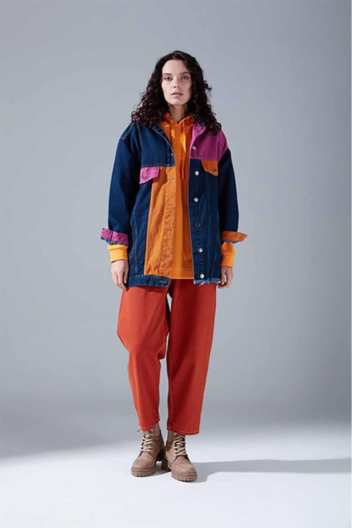 Mizalle Youth Parçalı Denim Ceket (Indigo) 1
