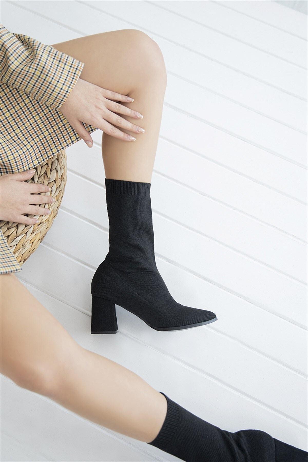 STRASWANS Foster Kadın Topuklu Streç Triko Bot Siyah 2