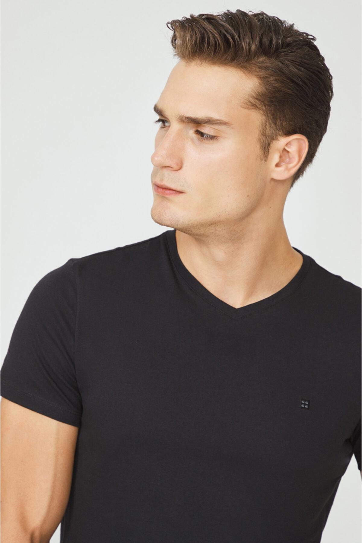 Avva Erkek Siyah V Yaka Düz T-shirt E001001 2