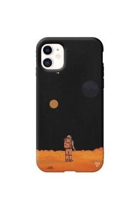 Trihed Iphone 11 Siyah Renkli Silikon Mars Telefon Kılıfı