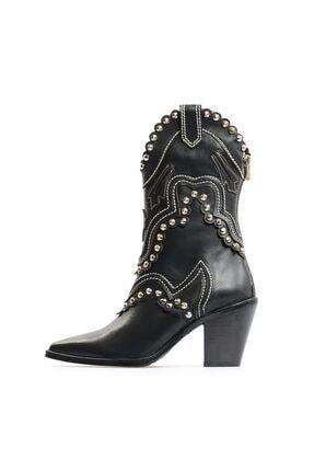 Flower Siyah Kadın  Deri Nakışlı Troklu Western Çizme
