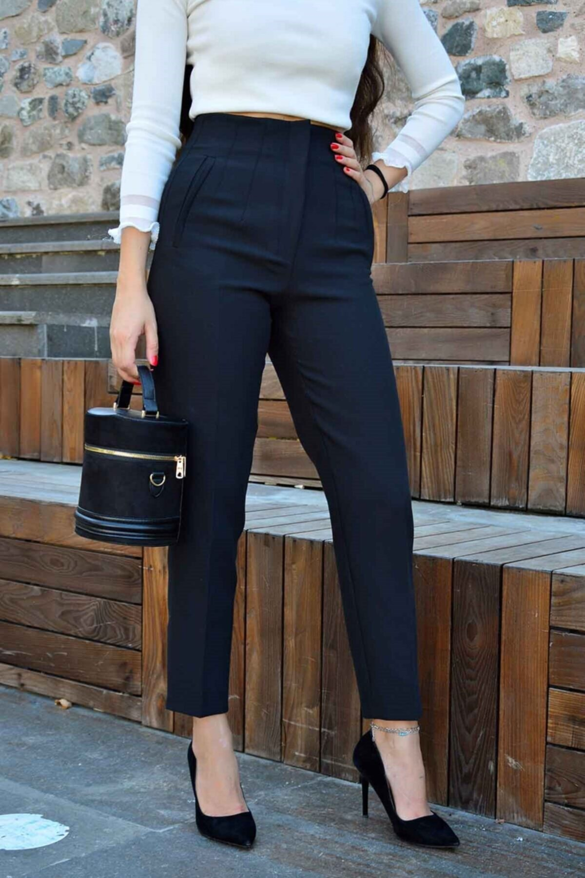 megapol giyim Siyah Önü Flatolu Kumaş Pantolon 1