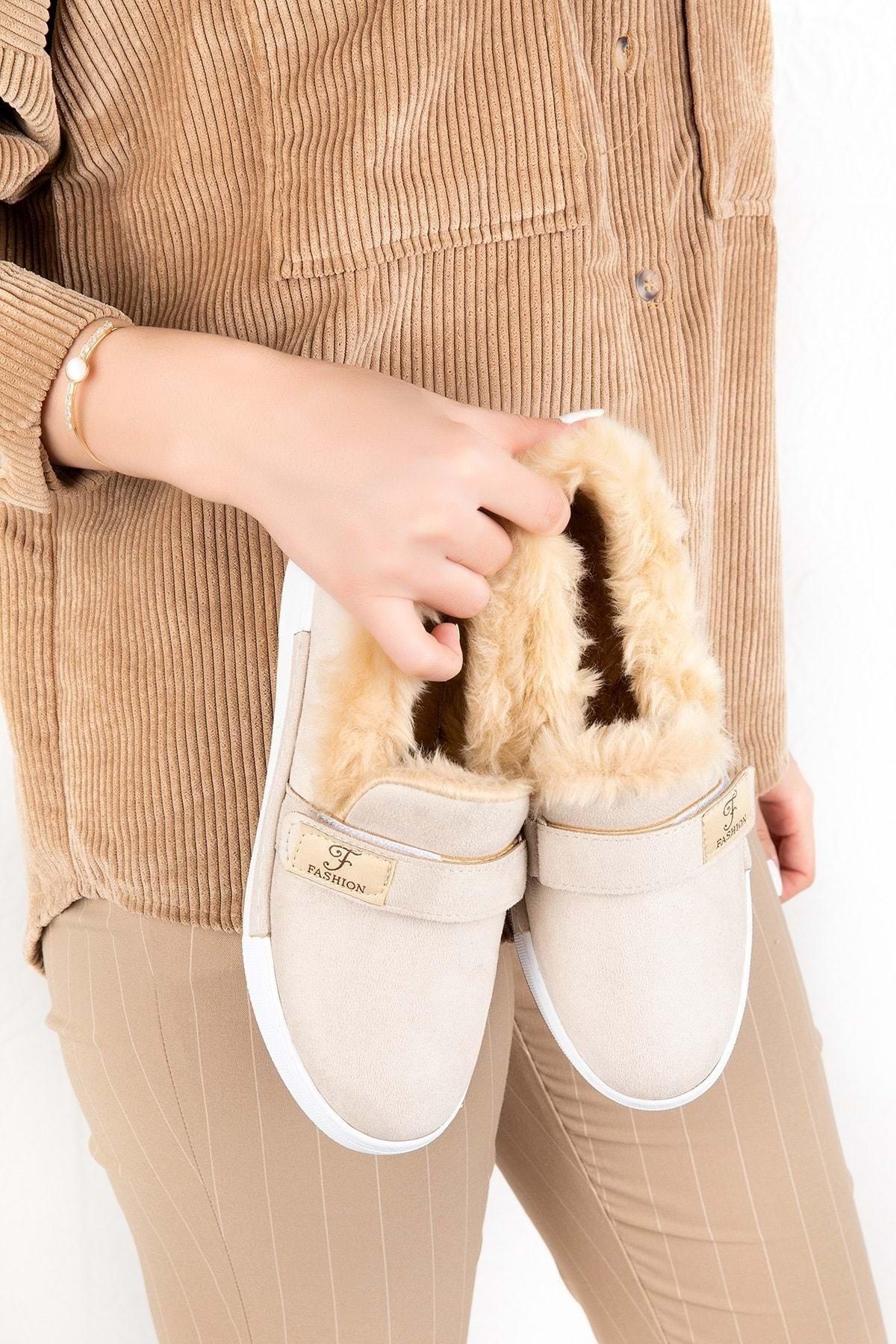 Gondol Içi Peluş Günlük Bağcıksız Ayakkabı Hsyn.90 - Krem - 37 1