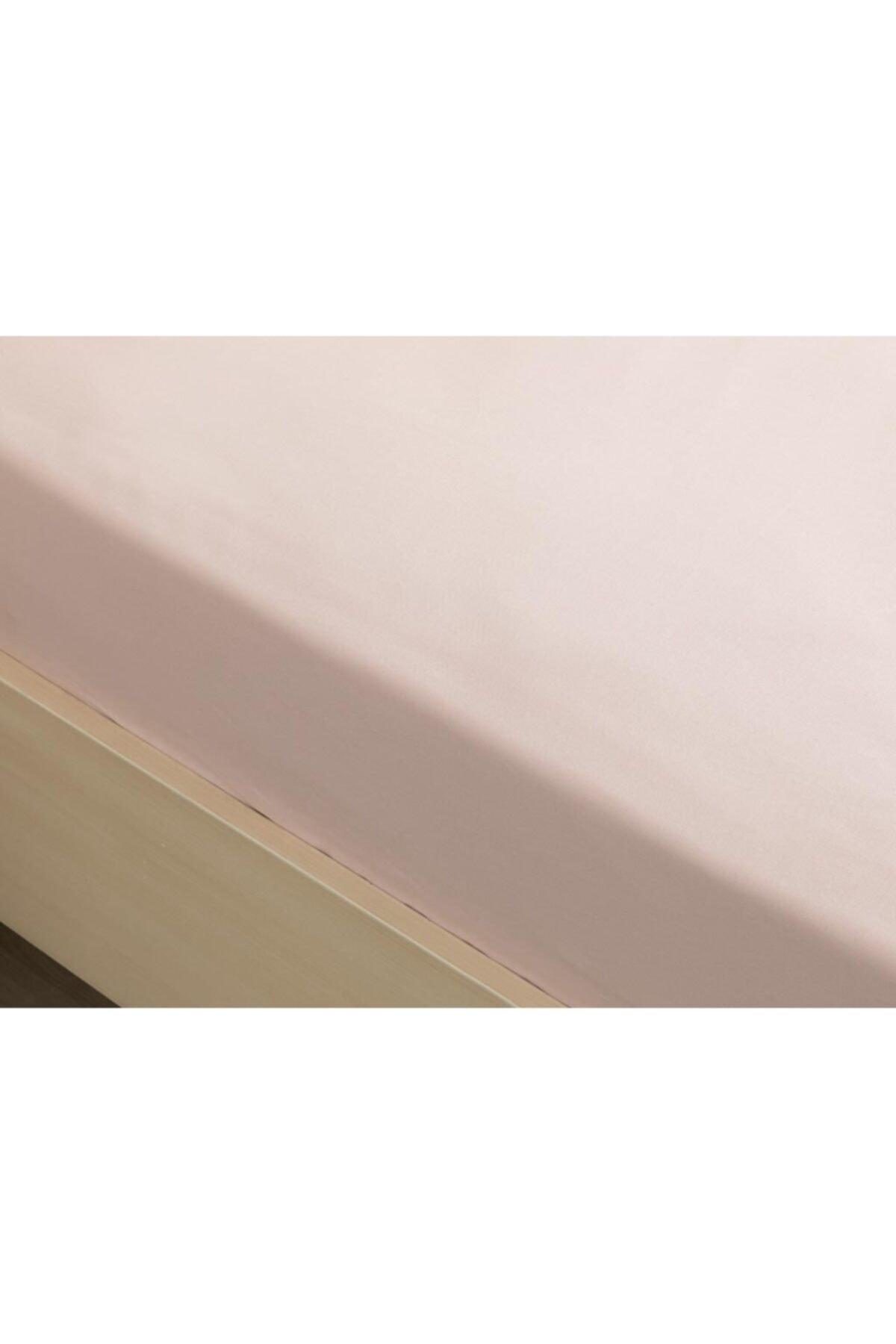 English Home Düz Pamuklu Çift Kişilik Lastikli Çarşaf 160x200 Cm Toz Pembe 2