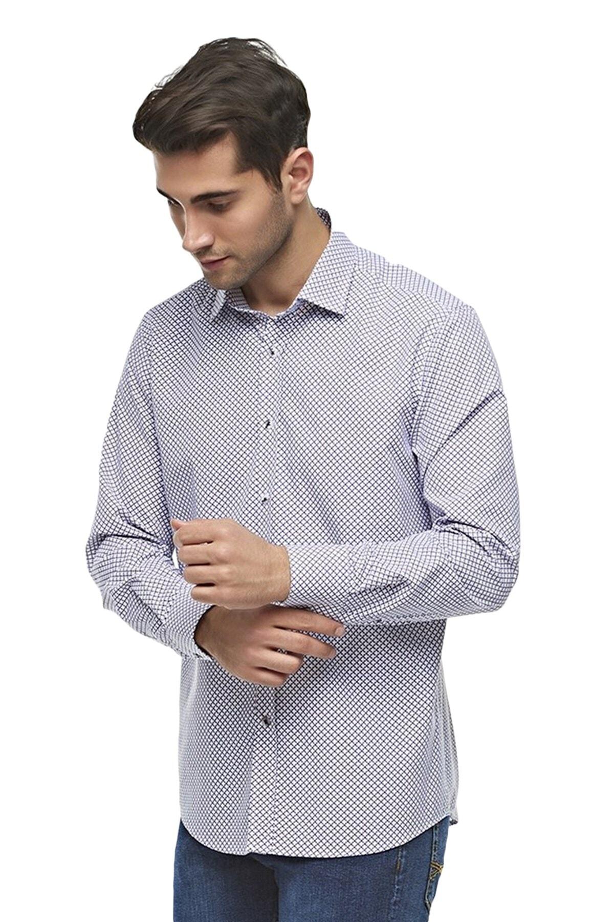 Ottomoda Uzun Kollu Desenli Erkek Gömlek 1