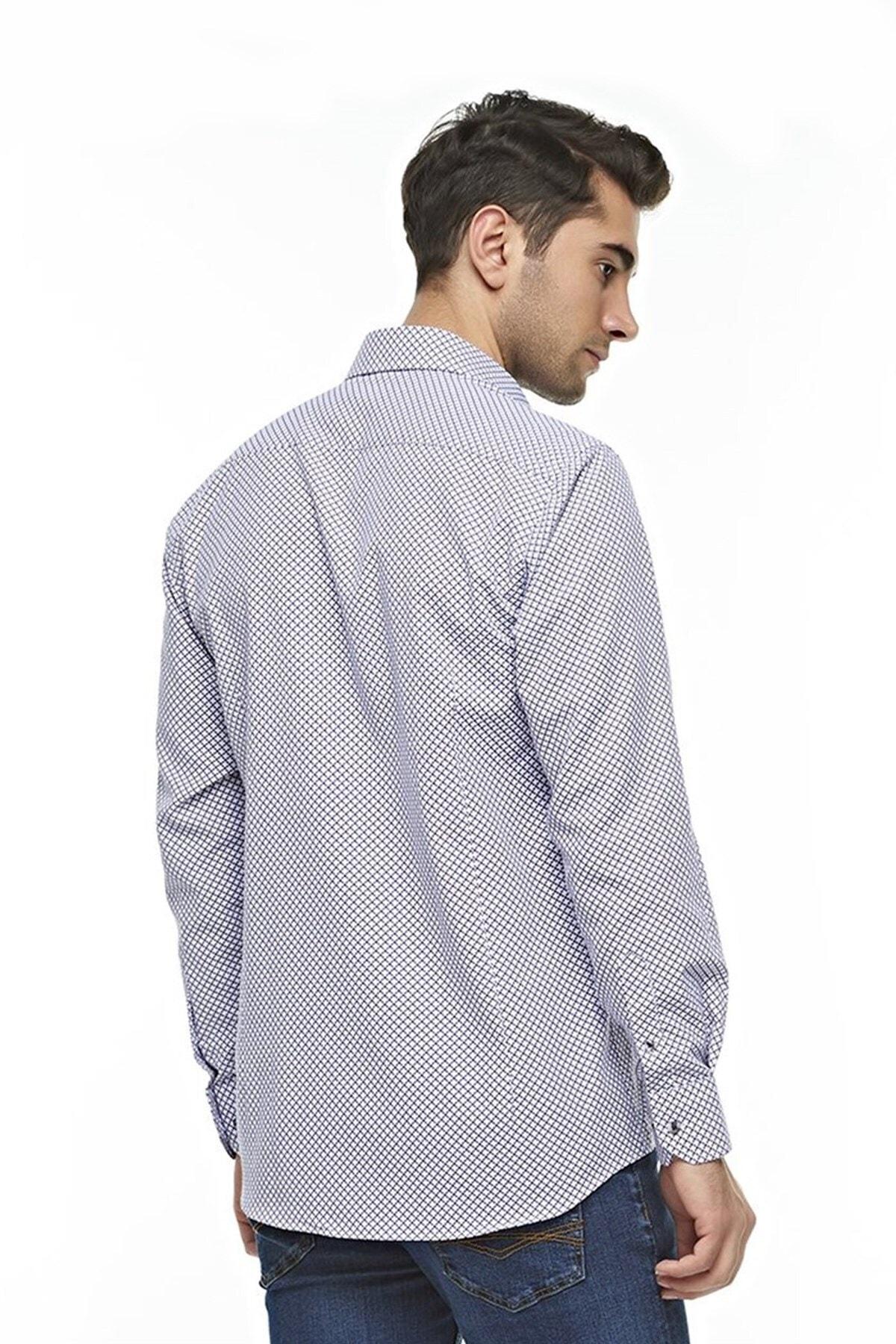 Ottomoda Uzun Kollu Desenli Erkek Gömlek 2