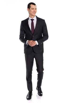 İgs Erkek Antrasit Slım Fıt / Dar Kalıp Mono Yaka Takım Elbise