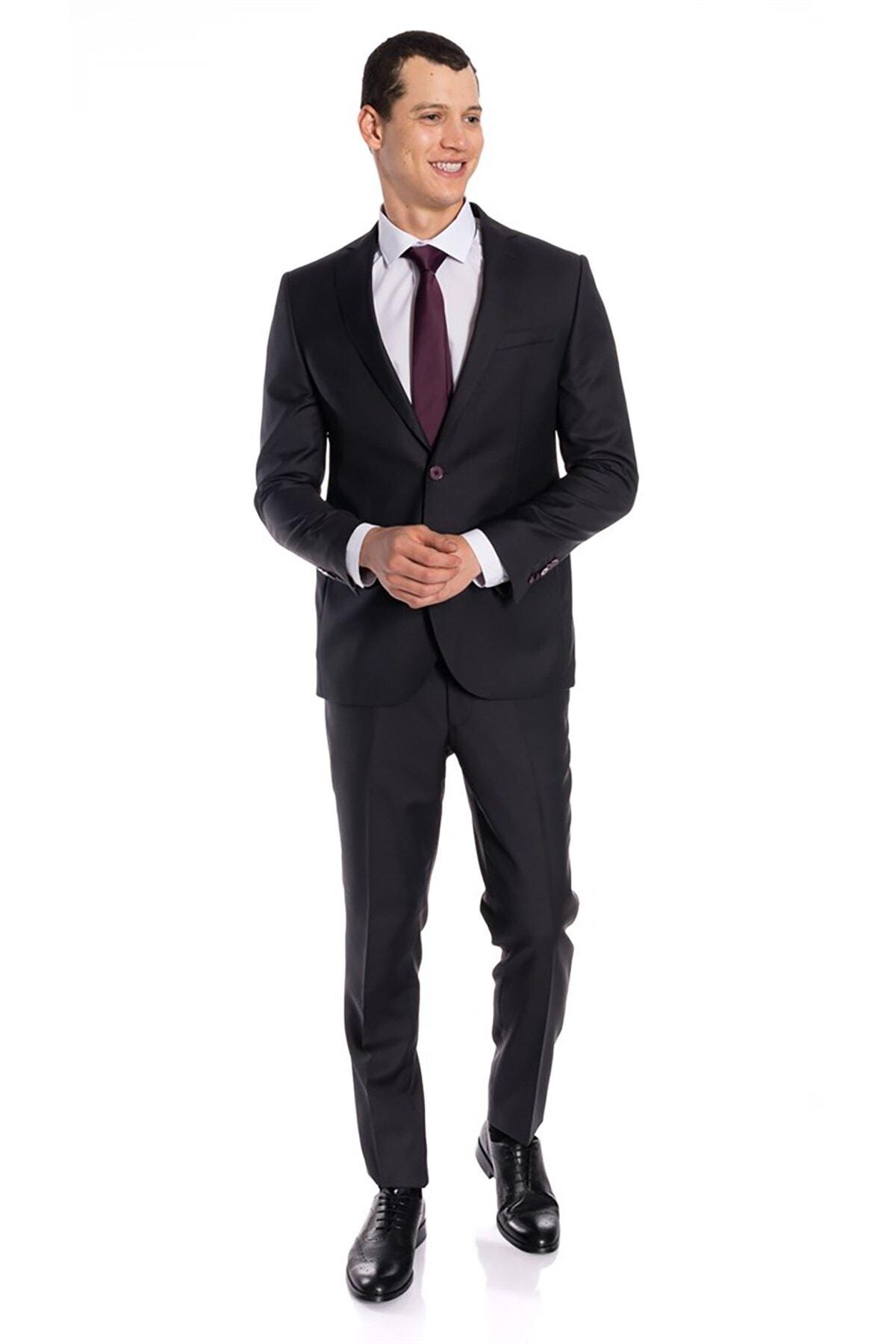 İgs Erkek Antrasit Slım Fıt / Dar Kalıp Mono Yaka Takım Elbise 1