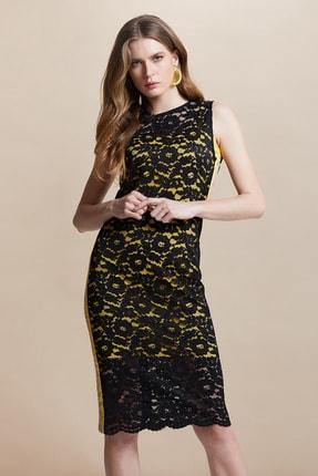 SERPİL Kadın Sarı-siyah Dantel Elbise 28441
