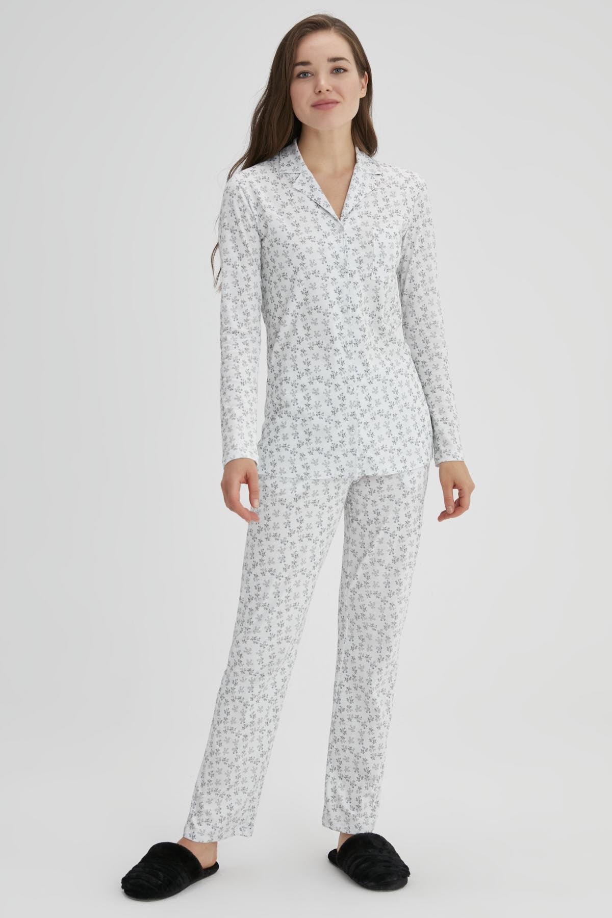 Dagi Ekru Kadın Pamuk Çıtır Çiçek Gömlek Pijama Takımı 1