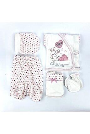 Bambino Yeni Doğan Bebek Pembe Tavşanlı 5'li Hastane Çıkışı Seti