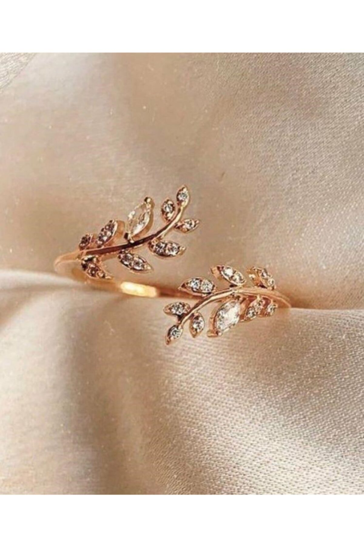 PETRİKOR Akasya Çiçeği Ayarlanabilir Kadın 14 K Rose Altın Kaplama Yüzük 1