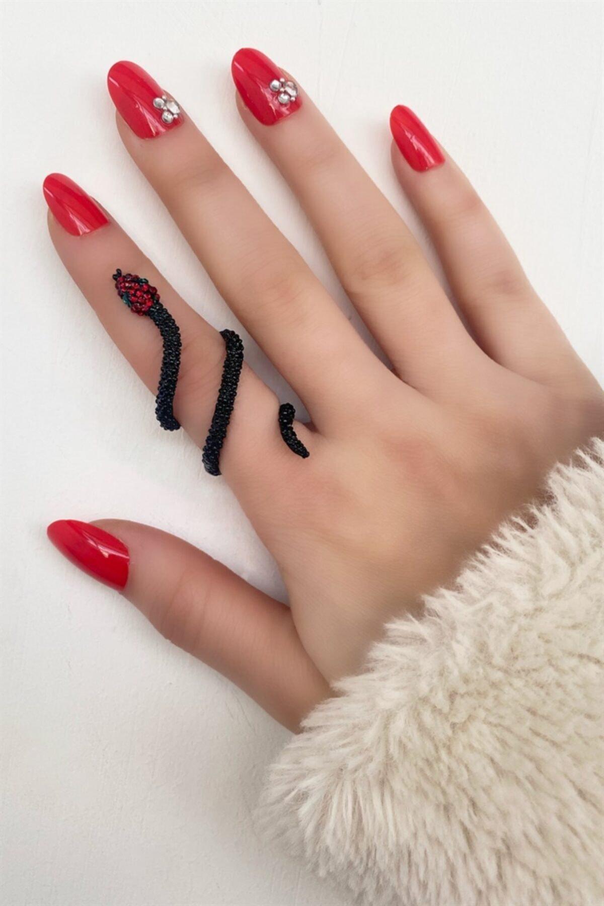TAKIŞTIR Siyah Renk Kırmızı Taşlı Yılan Figürlü Ayarlanabilir Yüzük 2