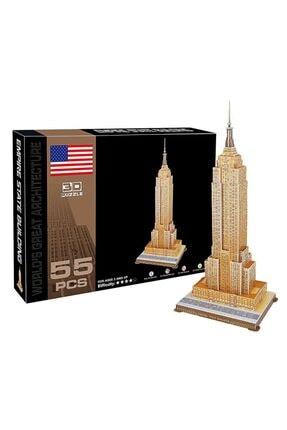 CC Oyuncak 3d Puzzle Empire State Binası 3 Boyutlu Puzzle Eğitici Yapboz 55 Parça