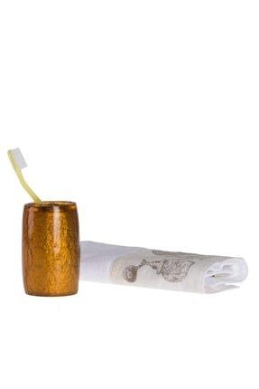 Bosphorus Diş Fırçalık Altın Renkli Poliresin Model 5x5x7cm
