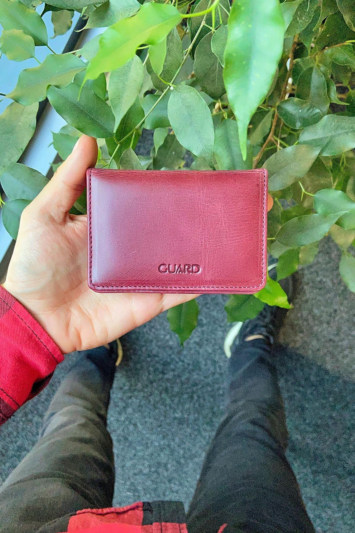 GUARD Hakiki Deri Kartlık - Mıknatıslı / Bordo Naturel 2