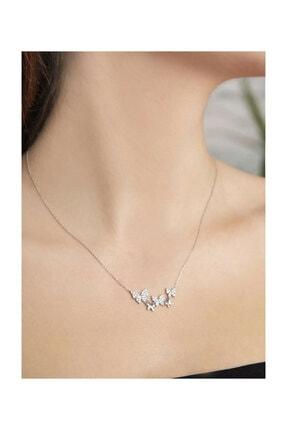 Papatya Silver 925 Ayar Beyaz Taşlı Gümüş Sıralı Kelebek Kolye