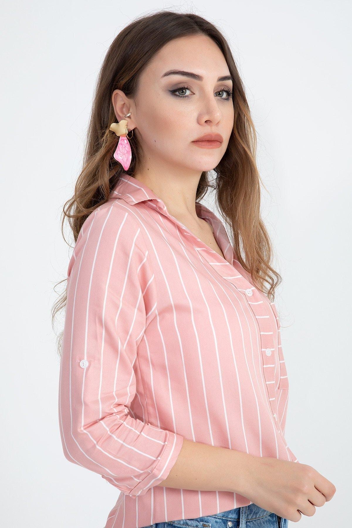 VAPUR TEKSTİL Kadın Turuncu Gizli Cep Katlama Kol Çizgili Gömlek 1