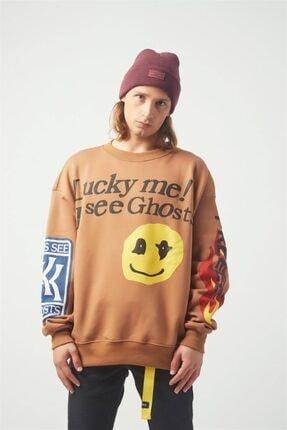 Trendiz Luckme Oversıze Sweatshirt Kahverengi Tr30016