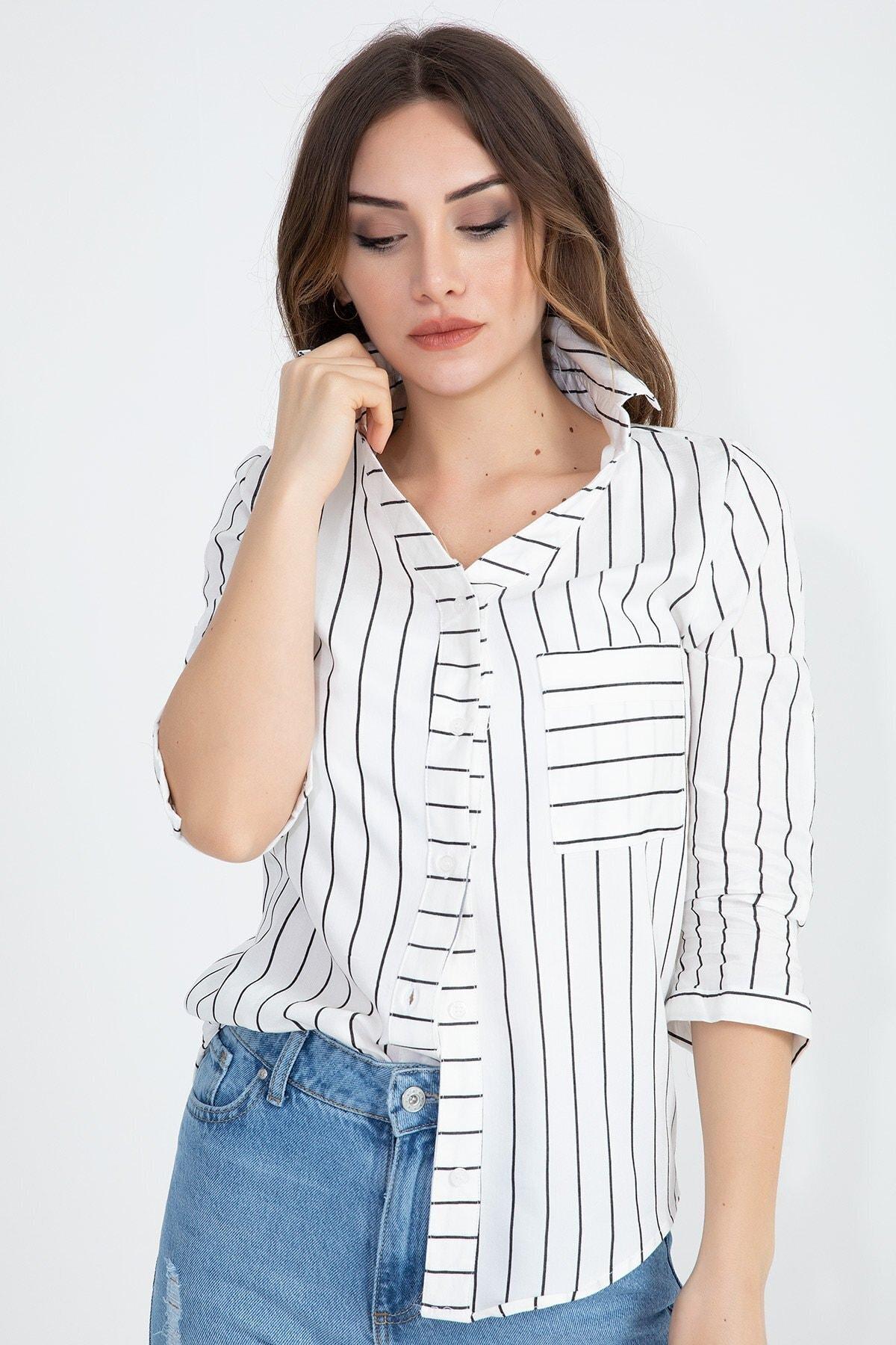 VAPUR TEKSTİL Kadın Beyaz Gizli Cep Katlama Kol Çizgili Gömlek 1