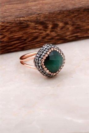Sümer Telkari Kadın Yeşil Opal Taşlı Rose Gümüş Tasarım Yüzük 2696