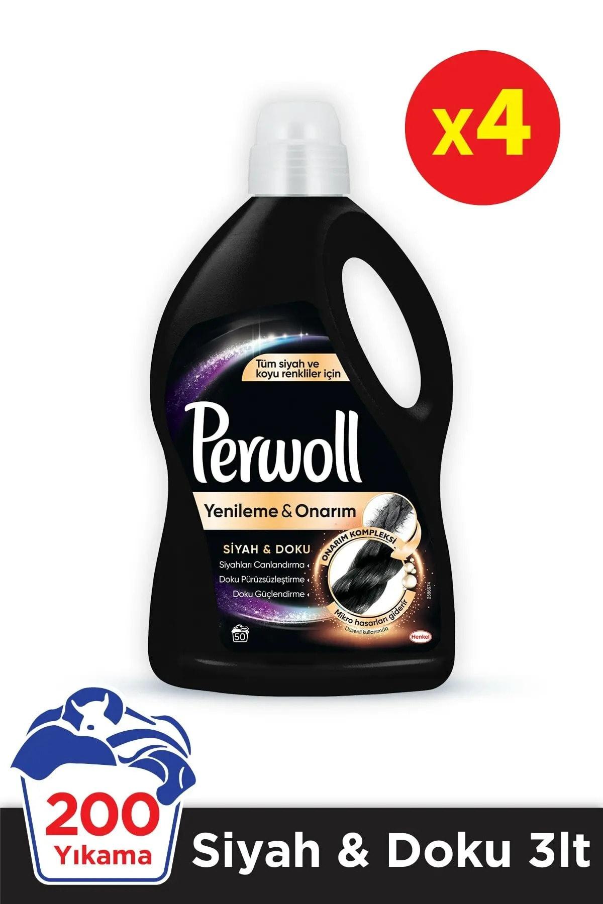 Perwoll Hassas Bakım Sıvı Çamaşır Deterjanı 4 x 3L (200 Yıkama) 4 Siyah Giysiler Doku&Koruma Yenileme&Onarım 1