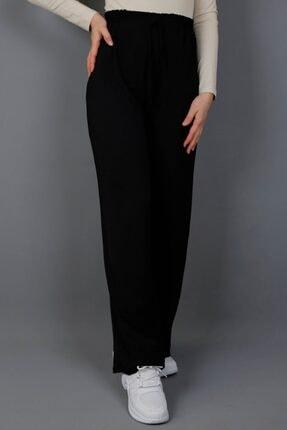 İmajButik Bol Paça Aurobin Krep Pantolon-siyah