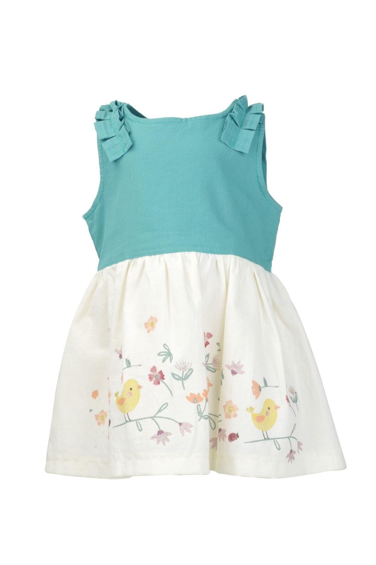 Zeyland Kız Çocuk Yeşil Kuş Baskılı Dokuma Elbise (9ay-4yaş) 1