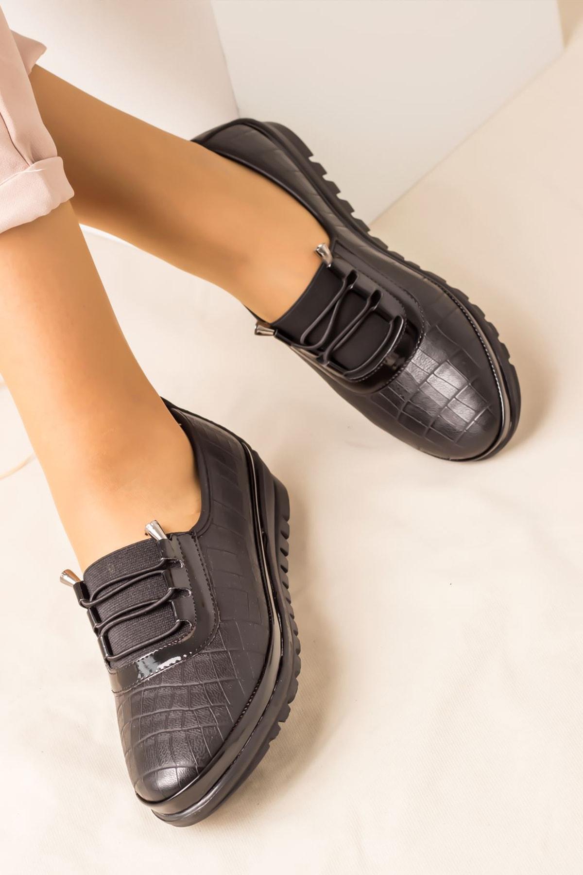 Lal Shoes & Bags Areca Parlak Ortopedik Rahat Kadın Ayakkabı-siyah 2