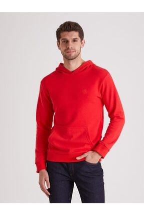Dufy Kırmızı Düz Kapüşonlu Erkek Sweatshırt - Regular Fıt