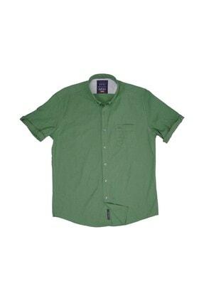 Cosplay Erkek Yeşil Flam Keten Kısa Kollu Gömlek