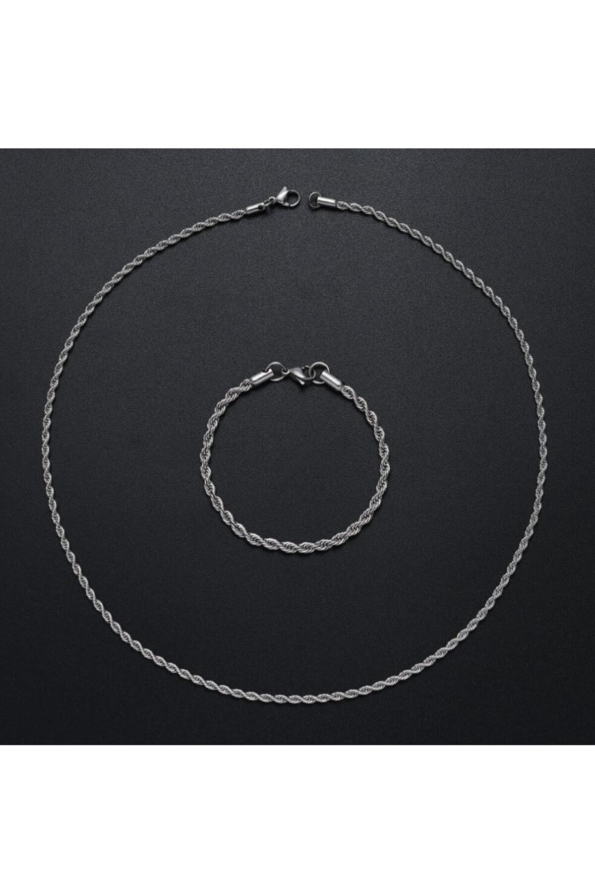 MedBlack Jewelry Unisex Gümüş Kaplama Kalın Burgu Kolye Bileklik Set 2