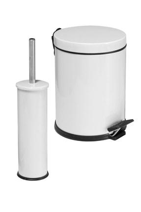 Foreca 2 Li Çöp Kovası Banyo Seti Beyaz